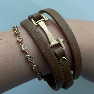 Free people wrap bracelet with gold hardware